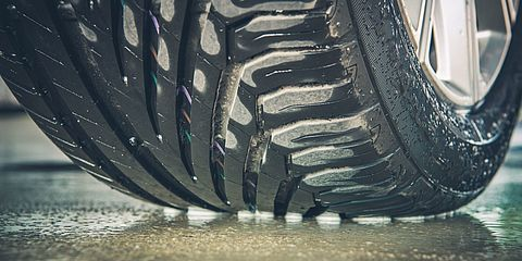 tyre on wet street